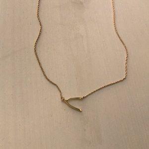 Jewelry - Gold wishbone necklace